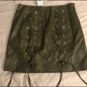 LF Leather Lace Up Skirt